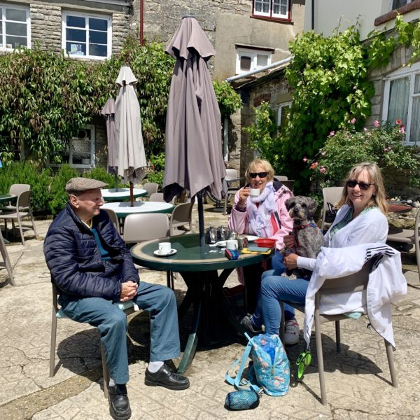 Happy Customers on the Corfe Castle Model Village Dining Terrace